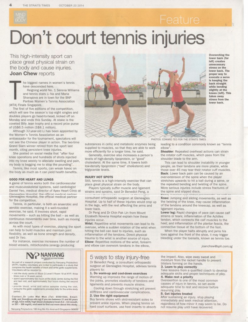 Common Tennis Injuries (Mind Your Body Article)